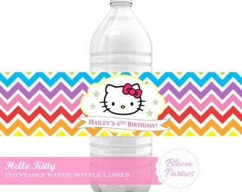 Hello Kitty Water Bottle Label Sticker - Birthday Party Decorations Drinks Label, Printable DIY Chevron