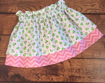 Clearance Size 3 Princess Frogs Pink Layered Paper Bag Skirt Ready to Ship