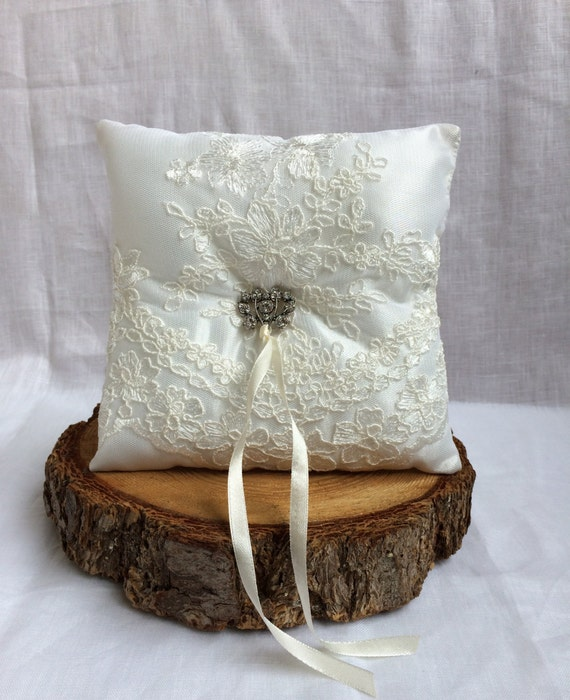Ring bearer pillow with lace and rhinestones accents, ring pillow,