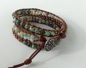 CatMar Beaded African Turquoise, Amazonite and Copper/Silver Seed Bead Wrist Wrap Bracelet on Brown Leather Cord with Button/Loop Closure