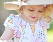 Ice Cream Birthday Outfit - Baby Girl Leotard - Girls Leotard - Baby Girl Birthday Outfit - Toddler Leotard - SALE!
