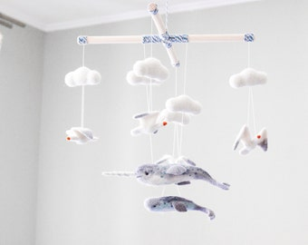 Needle Felted Narwal Baby Mobile, Whale baby mobile, Ocean Nursery Decor, Sea Crib Mobile,  Baby Shower Gift