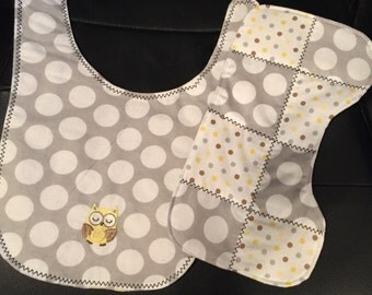 Polka Dot Bib and Burp Cloth Set
