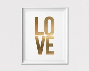 Love Print, Wall Art, Love in simulation of gold, Wall Decor, Minimalist Print, Home Decor, Wall Decor, Modern Poster, ArtFilesVicky