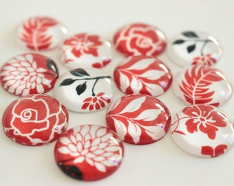 20mm Flower Glass Magnet Set, Pretty Round Marble Magnets, Red Floral Magnets, Flower Fridge Magnet, Lovely Glass Domes, Chic Magnet Set
