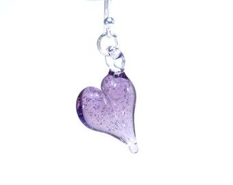 Lilac Purple Heart Earrings - Sterling Silver - Handmade