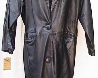 Medium CAYENNE Black Long LEATHER Coat