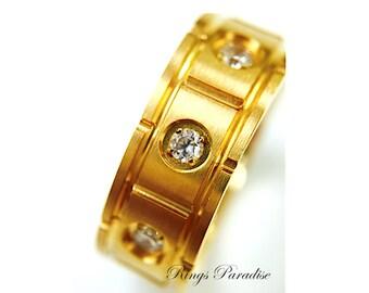 Yellow Gold Titanium Ring, Men's Titanium  Men Wedding Band, Titanium Wedding Ring, Personalized Ring, Titanium  Men Promise Ring His, Hers