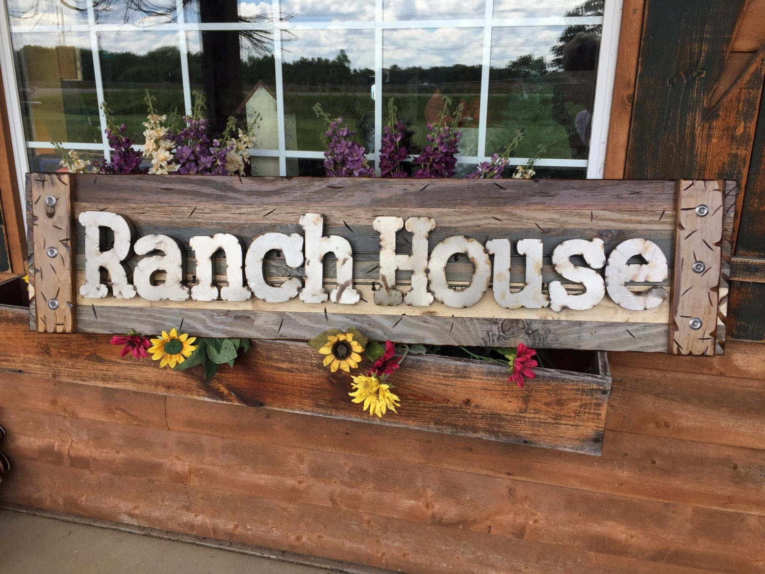 Ranch House Rustic Sign Brown Blue Reclaimed Shutter Distressed Industrial Navy Tan Metal Large