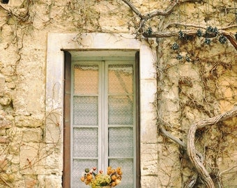 France Photography, Rustic Wall Art, French country, window, Provence, European Village, Europe, Travel photo, Fine Art Print, beige tones