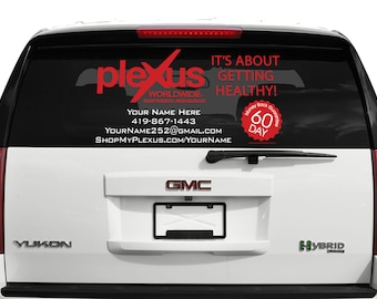 """Rear Window Plexus Worldwide Custom Personalized Two Color Decal Up To 23"""" Tall - 70359DW"""