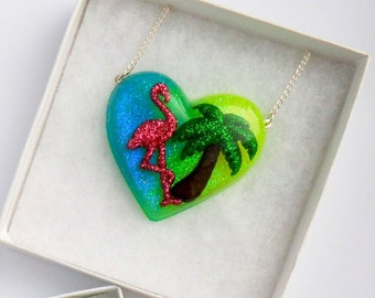 Exotic Tropical Flamingo Palm Tree Resin Heart Necklace Glitter Festival Necklace