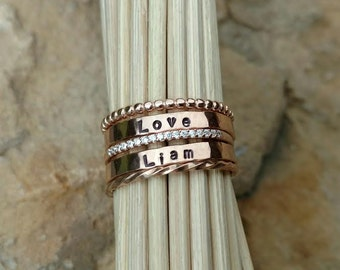Rose Gold Name Rings Stacking Name Rings Mothers Name Ring Personalized Rings Pink Gold Name Ring New Mom Gift New Baby Gift Name Ring Set