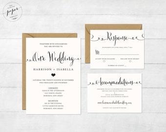 Printable Wedding Invitation Set   Wedding Invitation   Invitation   RSVP  Card   Details Card