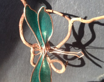 Hairpin jewelry Dragonfly green and copper wire