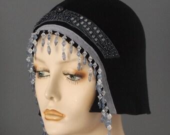 felt beaded flapper hat. black felt flapper hat, bead fringe felt cloche, black 1920s cloche, blue beaded fringe cloche, 20s party