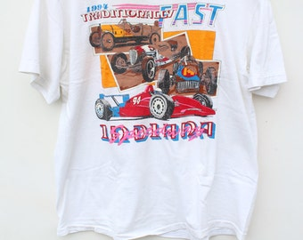 90s Graphic Tee / NASCAR Indy Racing / XL LARGE / Dingy White T-Shirt / Neon Fluorescent / Race Car Indiana Speedway / 90s Grunge Distressed
