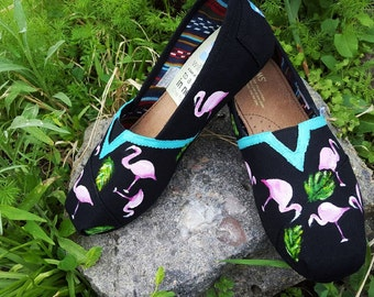 Handpainted Flamingo TOMS Black Canvas Shoes