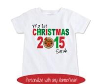 My first baby Christmas bodysuit, Christmas gingerbread man onesie,Custom Name Christmas card photo shoot shirt,  Christmas outfit (EX 433)
