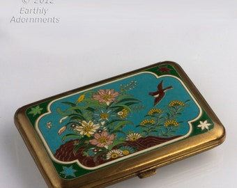 Vintage brass and enamel mirror and powder compact. (cpad235)