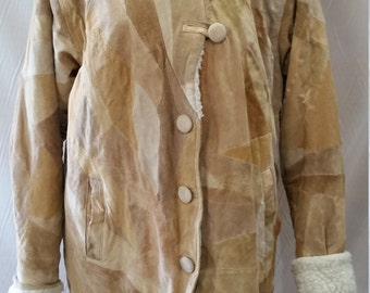 Vintage 80s Tan Leather & Faux Shearling Hooded Parker Style Winter Coat