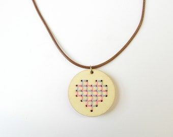 Heart Necklace, Heart Wooden Embroidery Necklace, Statement Necklace, Girlfriend Gift, Hand Embroidered Necklace Pastel Cross Stitch Jewelry