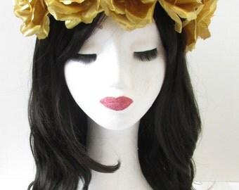 Large Gold Rose Flower Hair Crown Headband Vintage Festival Big Garland Boho T22 Fabric