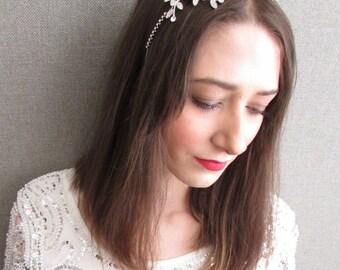 Silver Crystal Leaves Headband Bridal Vintage Great Gatsby 1920s Flapper 30s Q86