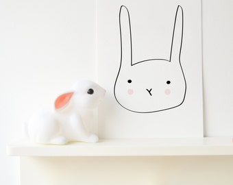 Minimal Rabbit Baby Nursery Wedding Art Print Boys Room Kids Room nursery decor new baby gifts baby shower