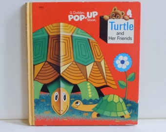 Pop Up Book Turtle and Her Friends Rare Vintage Pop-Up Golden Book Mid Century Style Animals and their Babies