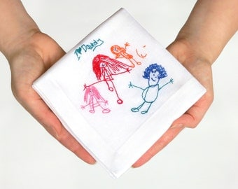 Your child's drawing embroidered handkerchief - Custom personalized handkerchief - Daddy gifts - Your child's art - Personalised hankies