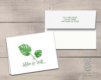 Letterpress Foil Thank You Cards & Envelopes - Tropical Palm Correspondence Cards - Custom Stationery Note Cards