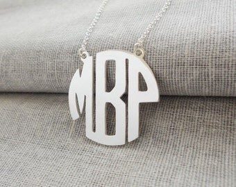 Monogram Block Necklace,Sterling Silver Monogram Necklace,3 Initial Block Necklace,3 Letters Nameplate Monogrammed Jewelry,Name Necklace
