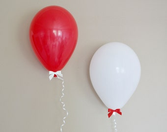 """11"""" Red & White Balloon + Bow Set - 6 Pack // Graduation Party Decor // Birthday and Wedding Balloons"""