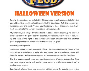 Halloween Family Feud - Printable Game -  Halloween Party Game  -  Instant Download
