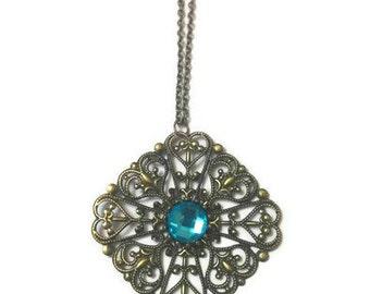 Bronze Filigree Pendant, Filigree Pendant, Steampunk Pendant Necklace, Steampunk Necklace, Vintage Pendant Necklace, Metal Lace Pendant