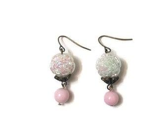 Pink Earrings - Pink Dangle Earrings - Dangle Earrings - Long Dangle Earrings - Vintage Earrings - Shabby Chic Jewelry - Pastel Earrings
