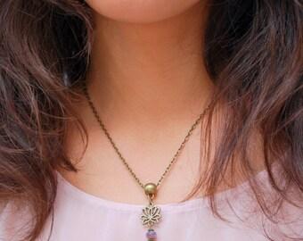 ॐ Yoga lovers jewelry, purple beaded jewelry, hamsa hand tiny necklace,  lotus flower charm pendant - peace - yoga everyday  - namaste