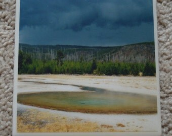 One Handmade Resin Ceramic Tile Picture Coaster - Storm Approaching Yellowstone