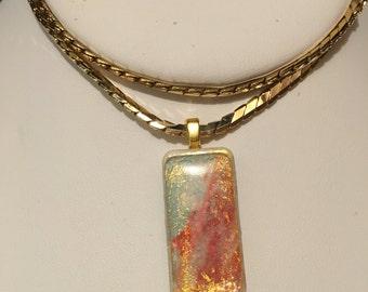 Mini domino pendant with chain