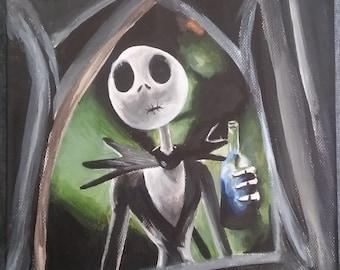 Jack Skeleton inspired orginal artwork (20cm x 20cm) acrylic on canvas
