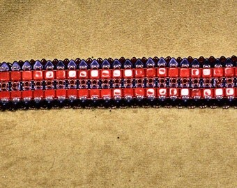 Red and Purple beaded bracelet
