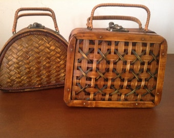 BAMBOO PURSES BOXES Vintage Set of 2 Bamboo Purses Boxes