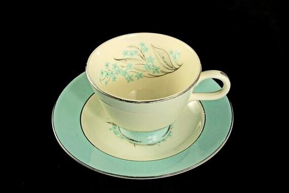 Teacup and Saucer, Sevron, Blue Lace, Blue Floral, Platinum Trim