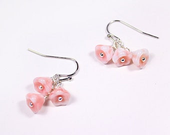 small pink earrings silver flowers jewelry blush pink gift/for/daughter womens gift cute jewelry/for/kids bell flower earrings sterling пя62