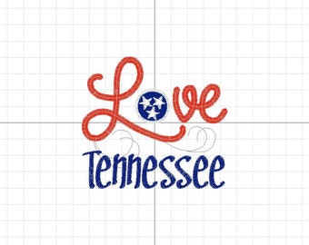 LOVE Series Tennessee Stars Flag Machine Embroidery Design Digital Pattern INSTANT DOWNLOAD State Southern Midwestern Patriotic Red White