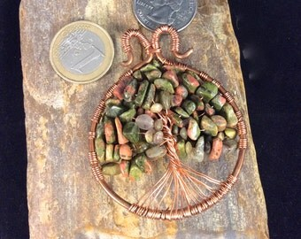 Spring Tree of Life Pendant , Green Tree of Life for spring, Unakite Tree of Life, Boho Pendant, Green and pink copper necklace, Copper Tree