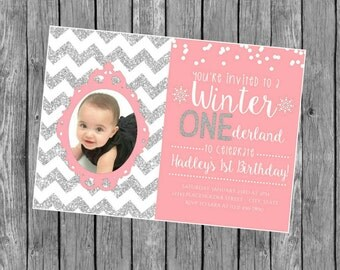Winter ONEderland invite - First Birthday Invite - DIY Printable File