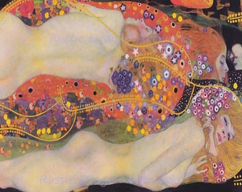 "Gustav Klimt ""Watersnakes II"" Reproduction Print Art Nouveau Wall Hanging Home Decor"