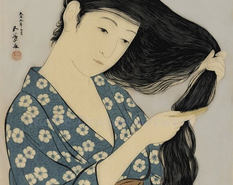 "Hashiguchi Goyo ""Women in Blue Combing Her Hair"" 1920 Reproduction Digital Print Japanese Art Vintage Japan Wall Hanging"